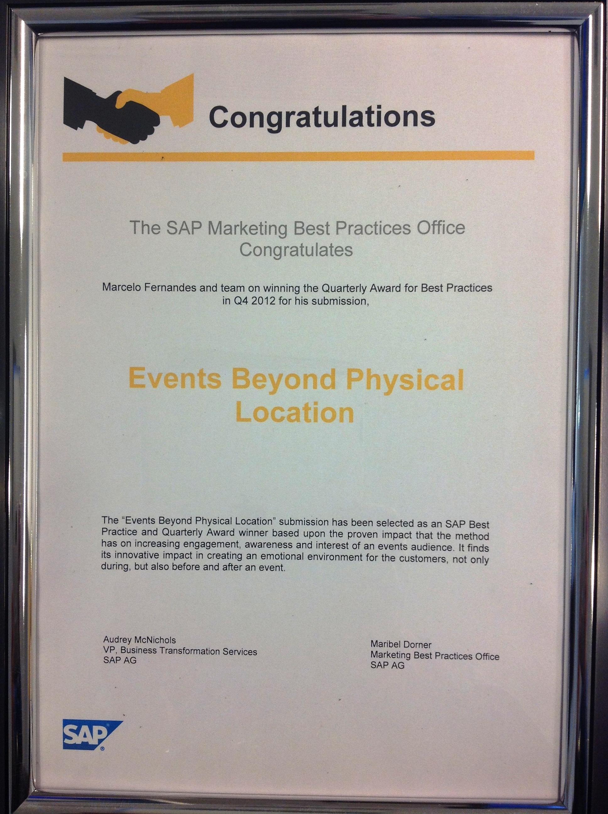 Marcelo Fernandes SAP Award